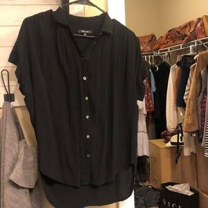 Madewell black drapey central shirt. Xs good cond.